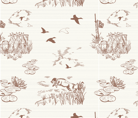 Boykin Hunt Test Toile Red Large fabric by wingshotcollection on Spoonflower - custom fabric