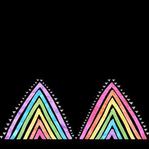 Rainbow triangle boarder black horizontal