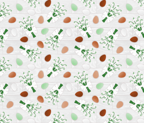 Free-Range Eggs with Snowdrops fabric by willowbirdstudio on Spoonflower - custom fabric