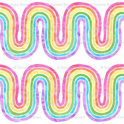 rainbow wave white mini horizontal