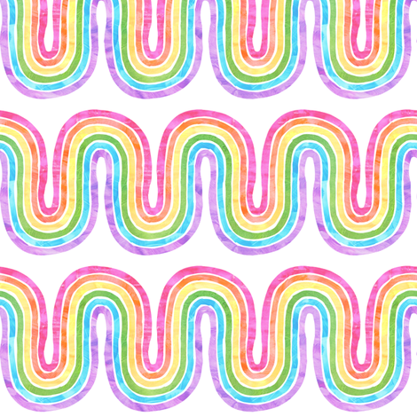rainbow wave white mini horizontal fabric by schatzibrown on Spoonflower - custom fabric