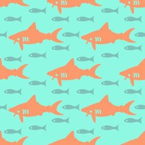 Orange Sharks on Aqua