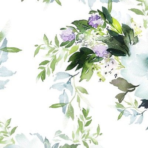 "12"" Blue and Blush Soft Watercolor Florals"