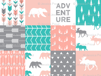 adventure woodland wholecloth  || pink,coral,grey, turquoise C18BS