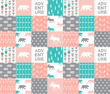 adventure woodland wholecloth  || pink,coral,grey, turquoise C18BS fabric by littlearrowdesign on Spoonflower - custom fabric