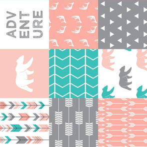 adventure woodland wholecloth  || pink,coral,grey, turquoise C18BS (90)