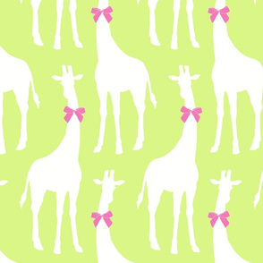 White Giraffes with Pink Bows (Larger version)