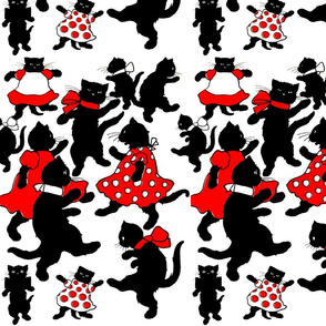 dancing black cats kittens red dresses white polka dots bows ribbons anthropomorphic kawaii adorable children party standing