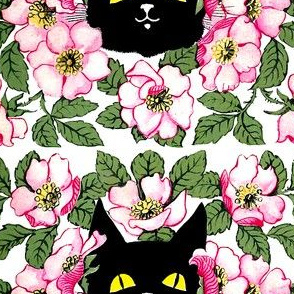 smiling black cats kittens heads face yellow eyes pink flowers floral leaf leaves kawaii