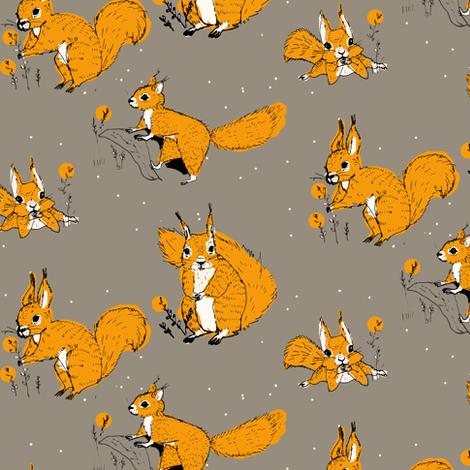 squirrels orange fabric by potyautas on Spoonflower - custom fabric
