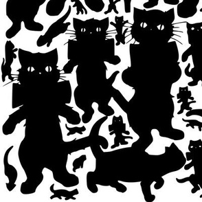 black cats kittens bows ribbons standing dancing umbrellas black white monochrome silhouette simple outlines shadows kawaii animals