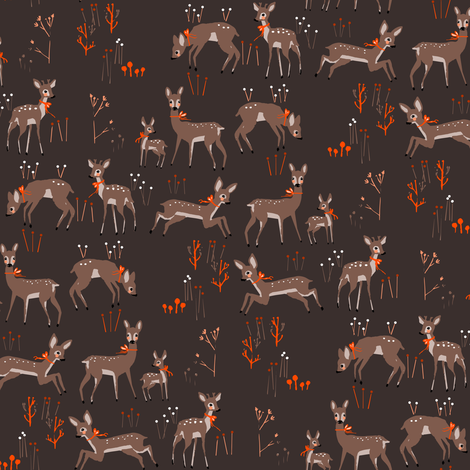 doe deers with ribbons fabric by gomboc on Spoonflower - custom fabric