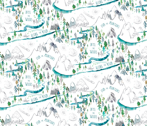 Let's Go Adventuring (white)  fabric by nouveau_bohemian on Spoonflower - custom fabric