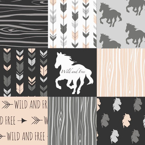 Horse Patchwork - Pale Peach and And Black -Wild and Free Horses-ch