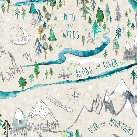 Let's Go Adventuring (cream) MED fabric by nouveau_bohemian on Spoonflower - custom fabric