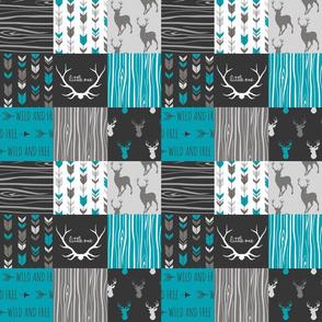 "3"" patchwork deer - teal , grey and black"