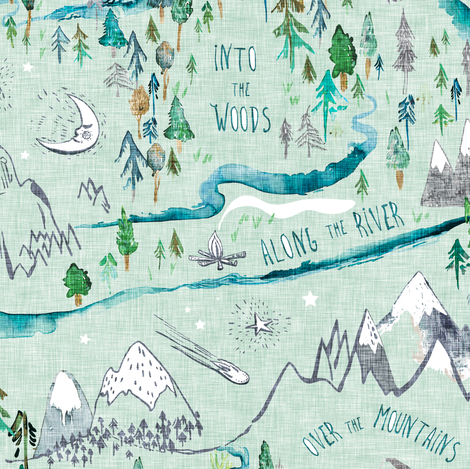Let's Go Adventuring (sage)  fabric by nouveau_bohemian on Spoonflower - custom fabric