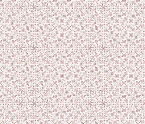 Folk  floral medium pink green dots fabric by dustydiscoball on Spoonflower - custom fabric