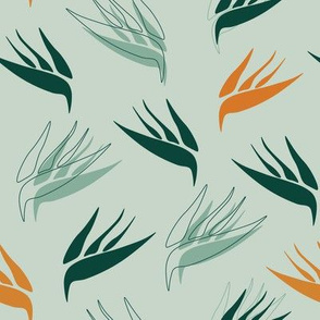 birds of paradise small greens mint and yellows