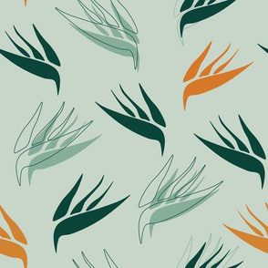 birds of paradise large mint green and yellow