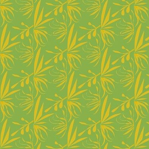 Golden Leaves and Twigs on Ferny Green - Medium Scale-ch