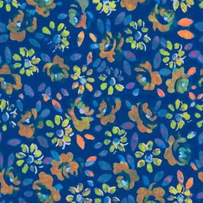 Floral Invert Blue