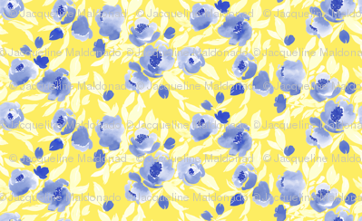 Watercolor Floral Blue Yellow