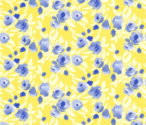 Watercolor Floral Blue Yellow fabric by mjmstudio on Spoonflower - custom fabric
