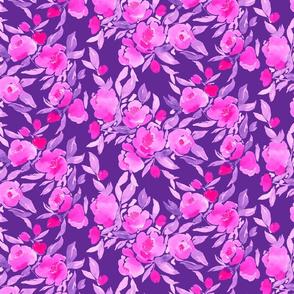 Watercolor Floral Pink Purple