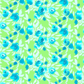 Watercolor Floral Turquoise Lime