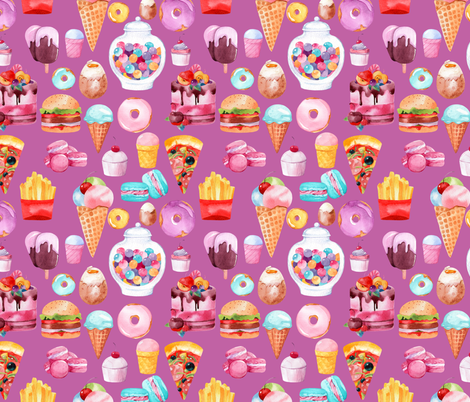 "Watercolor Junk Food Purple 8"" fabric by greenmountainfabric on Spoonflower - custom fabric"