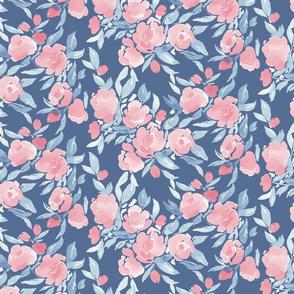 Watercolor Floral Pale Pink Blue
