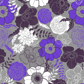 Neon Violet Anemone and Roses