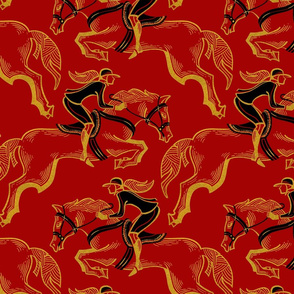 red and gold horse