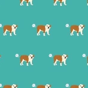 english bulldog fart dog breed funny fabric teal