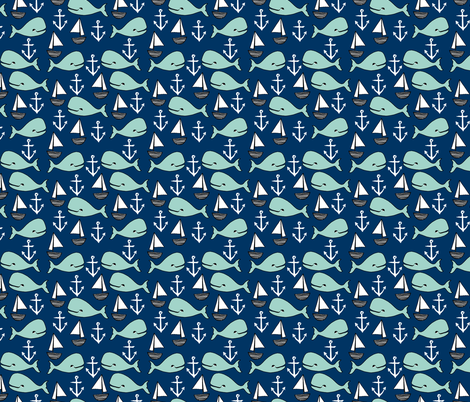 nautical whales // mint and navy blue whale sailboat anchors fabric anchor design cute baby nursery andrea lauren fabric fabric by andrea_lauren on Spoonflower - custom fabric