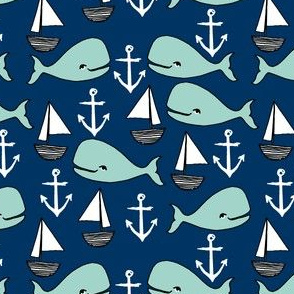 nautical whales // mint and navy blue whale sailboat anchors fabric anchor design cute baby nursery andrea lauren fabric