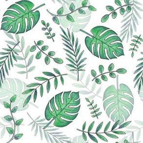 Leafy pattern emerald green on white