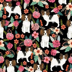 papillon florals cute dog design sweet florals vintage floral dogs toy spaniels toy breeds cute florals dogs design - black