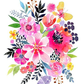 Watercolor Floral Burst