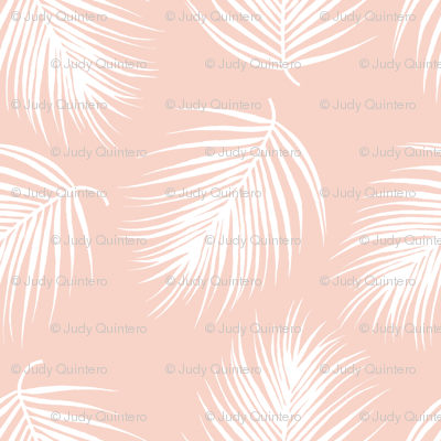 """4"""" Palm Leaves - White with Dark Pink Background"""