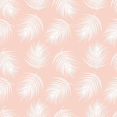"""4"""" Palm Leaves - White with Dark Pink Background fabric by shopcabin on Spoonflower - custom fabric"""