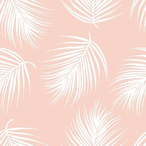 """8"""" Palm Leaves - White with Dark Pink Background"""