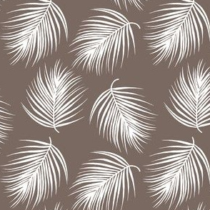 "4"" Palm Leaves - White with Dark Tan Background"