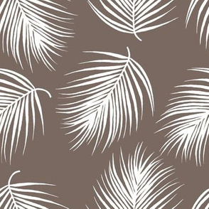 """8"""" Palm Leaves - White with Dark Tan Background"""