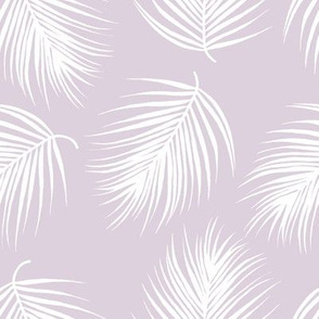 """8"""" Palm Leaves - White with Lilac Background"""