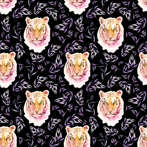 "4"" Boho Lilac Tiger and Branches - Black fabric by shopcabin on Spoonflower - custom fabric"