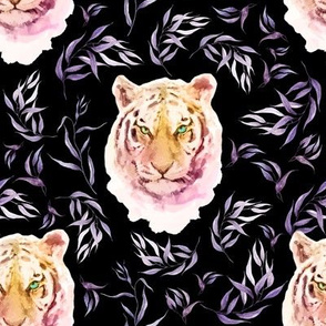"""8"""" Boho Lilac Tiger and Branches - Black"""