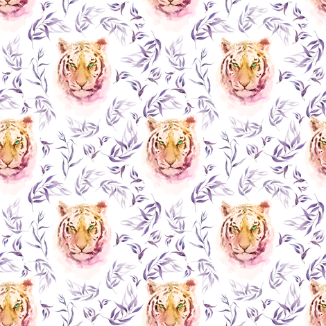 "4"" Boho Lilac Tiger and Branches - White fabric by shopcabin on Spoonflower - custom fabric"