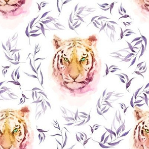 """8"""" Boho Lilac Tiger and Branches - White"""